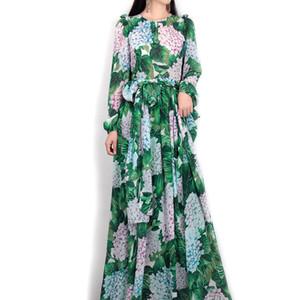 nuove primavera / estate 2017 donne pista maxi vestito fiori di alta qualità foglie verdi stampa vestito lungo casuale Beach