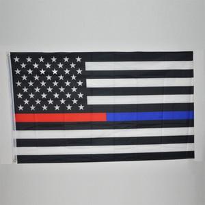 90 * 150 cm BlueLine EUA Polícia Bandeiras 3x5 Pé Fina Linha Azul EUA Bandeira Preto, Branco E Azul Da Bandeira Americana Com Bronze Ilhós 50 pcs