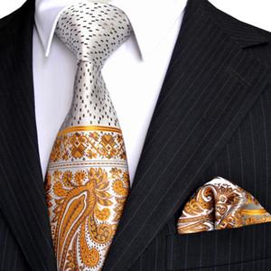E8 Multicolore Jaune Marron Argent Paisley Dots Mens Cravates Ensemble Cravates Poche Carré 100% Soie Nouveau