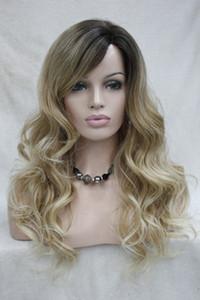 Hivision qualità caldo buona Monofilamento parte laterale calore ok Ombre marrone / bionda parrucca donna riccia lunga