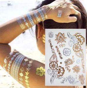 500 Arten Körperkunstkette Gold Tattoo Temporäre Tattoo Tatoo Flash Tats Tattoo Metallic Tattoo Schmuck Transfer Tattoos Temporäre Aufkleber