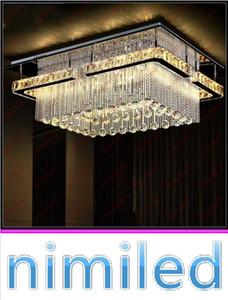 Nimi701 L80cm * W60cm * H29cm Moderno Minimalista Rectangular Lámpara de cristal Techo Luces colgantes Restaurante Dormitorio Lámparas Araña
