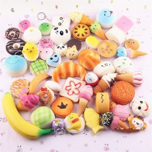 Cuty 3D Kawai Squishies toy Slow Rising Squishy Charm Rainbow sweetmeats ice cream cake bread Strawberry Bread Phone Straps Soft Fruit Toys