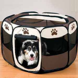 10PCS / LOT Wholesale Dog Supplies Pet Bed Kennel Dog House USA Pet Tenda Penne Gabbia pieghevole Oxford Tessuto Telaio in acciaio Dog Cage Cat Bed Play Pen