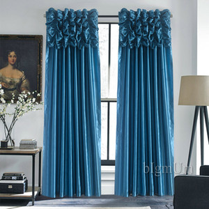 Luxury Valance & Curtain for Window Customized Ready Made Window Treatment  Drapes For Living Room Bedroom Solid Color Panel