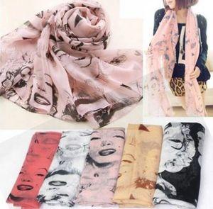 Nueva moda coreana señoras con estilo Pretty Marilyn Monroe Head Print gasa bufanda chal abrigo primavera otoño HJIA606