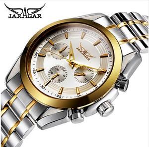 JARAGAR Männer automatische mechanische Uhren Luxus-Top-Marke Kalender Casual Watch Stahl analoge Armbanduhr Triple Sub-Zifferblatt Sportuhr