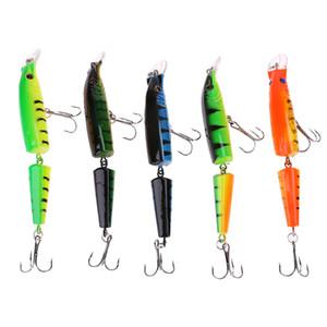 5 Renkler Segmentli Eklemli 2 Bölümler Plastik Yüzme Sert Yem 10.5 cm 9.6g Minnow Yapay Balıkçılık Lures 4 # Kanca