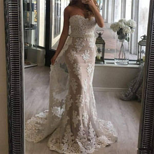 2019 Fashion Mermaid Wedding Dresses Sweetheart Full Lace Appliques Beaded Pearls Sashes Detachable Sweep Train Custom Formal Bridal Gowns