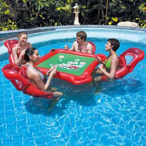 Parc aquatique gonflable Mahjong Poker Set de table Flottante chaise gonflable Flotteur Fun Pool Toy Jouets en plein air Adultes de haute qualité # T1
