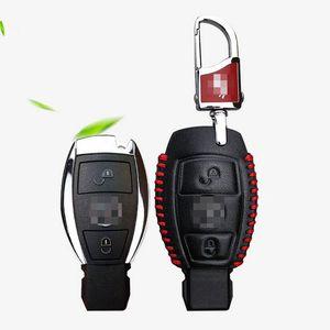 Mercedes Benz için Premium Deri 2 Düğmeler Anahtar Kutu Fit