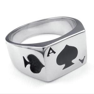 Горячий продавать ювелирные изделия мужские Кольцо из нержавеющей стали Poker Spade Ace персонализированных моды стали 316L кольцо из нержавеющей