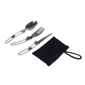 Wholesale-Outdoor Camping Picnic Tableware Stainless Steel Folding Knief Fork And Spoon Tab utensilios de cocina Outdoor Tablewares