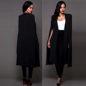 Yeni 2016 İlkbahar Sonbahar Kadın Artı Boyutu Uzun Pelerin Blazers ve Ceketler Seksi Siyah Beyaz Pist Cloak Uzun Kollu Kulübü Parti Blazer