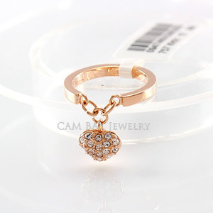 FashionTrendy Crystal Drills Finger Ring For Women Rose Gold Plated & Platinum Plated Heart Tag Dangling Wedding Bands