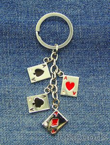 Trendy New Fashion Hot style poker Silver Couple KeyRing Keychain Llaveros Chaveiros Playing cards Gift Special Characteristic Unisex k25004