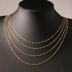 Di modo 18K placcato oro e argento 925 placcato 2 millimetri larghi pesante collana donne Figaro Catene Uomo