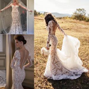 Incredibile abito da sposa a sirena in stile country country con maniche lunghe e maniche lunghe ricoperte da bottoni