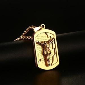 Männer Frau Kruzifix-Kreuz-Farbe überzog Edelstahl-christliche Bibel-Lords Prayer Jesus Halskette Schmuck Weihnachtsgeschenk