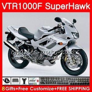 Cuerpo para HONDA SuperHawk VTR1000F 1997 top ALL Silver 1998 1999 2000 2002 2004 2004 2005 91NO49 VTR 1000F 97 98 99 00 01 02 03 04 05 Carenado