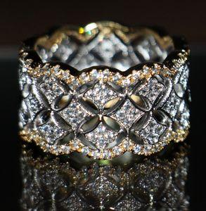 حبيب صغيرة 925 لمقلد مجوهرات الساخن الأبيض مطلي الذهب والفضة الحجم الفاخرة الماس الأحجار الكريمة الزفاف روز خواتم توباز 220pcs النساء 5 Bsij