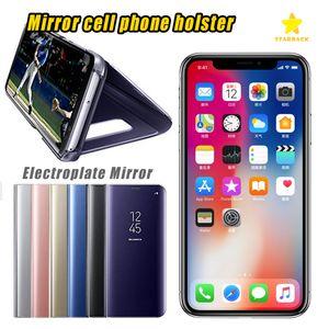 Custodia Telefono Custodia Placca Clear Smart Kickstand Mirror View Flip Cover Sleep wake per iPhone 8 Plus iPhone X Samsung Note8 con pacchetto