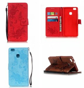 Strap Flower Wallet Flip Leather Pouch Case For LG K7 M1 G5 H850 Huawei Ascend P9 Lite Card Stand Soft TPU Money Skin Cover Butterfly Luxury