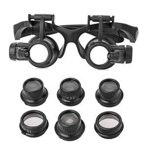 Toptan-Büyüteç Gözlük 10X15X 20X 25X LED Büyüteç Çift Gözlük Büyüteç Lens Kuyumcu İzle Onarım Büyüteç Ölçüm Araçları