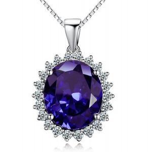 الأميرة ديانا الزفاف قلادة مجوهرات حقا الصلبة 925 فضة البيضاوي الأزرق الياقوت الأحجار الكريمة القلائد هدية للمرأة صديقة