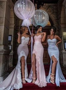 2016 Sheath High Split Sweetheart 레이스 아플리케 롱 파격 드레스 드레스 Sexy Junior Blush Pink Bridesmaid Dresses