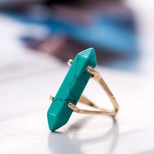 Anelli a prisma esagonale pietra preziosa imitazione pietra naturale cristallo quarzo punto di guarigione Chakra pietra fascino anello placcato oro per le donne YY518