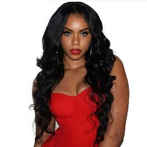 Hot selling simulation human hair Wig loose wave full black Wigs Fashion Style in large stock free shipping
