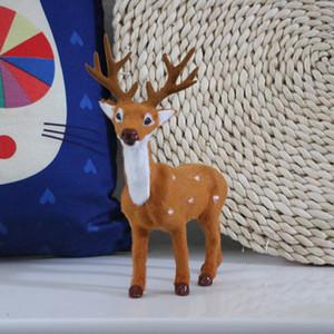 Crianças de natal Artificial Animal Modelo de Decoração Para Casa 21x16x7 cm Sika Deer Toy Polietileno Veados Brinquedo Mobiliário Presente