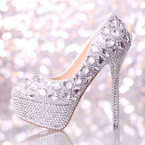 2019 Sapatos De Casamento Mulheres Sapatos De Salto Alto de Cristal Moda Sapatos De Vestido De Noiva Mulher Plataformas De Strass Prata Partido Prom Bombas