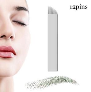 100 Pcs Microblading Aiguilles 12 broches pour Microblading Broderie Stylo Pernement Maquillage Sourcils Tattoo Fournitures Livraison Gratuite
