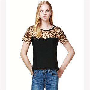 2018 Yaz Kadın Rahat Giyim Leopar Baskı Patchwork Şifon Üstleri Tee Gömlek blusas feminina