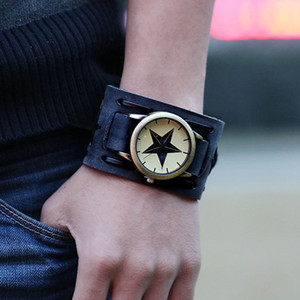 Jewelry Hip-hop Gothic Leathernk Style Mens Wrist Watch Wide Brown Black Leather Cuff Star Watches 18 Style