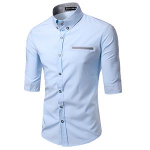 Vente Hot Spring New Fashion Casual Slim Fit manches trois-quarts Robe Hommes Chemises coréenne Styles de loisirs Chemise M-XXXL C14