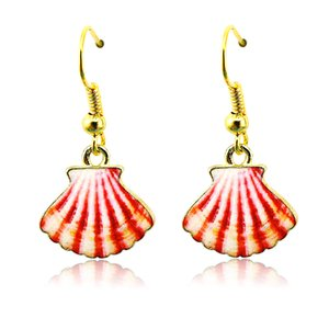 Wholesale Gold Plated Charms Earrings Stainless Steel Hooks Dangle Enamel Skirt Fashion Earrings For Women Jewelry