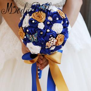 Handgemachte Rosen White Royal Blue Bouquets Brautschmetterling Brosche Hochzeit Bouquet Strass Brautjungfer Ramo De Flores Novia