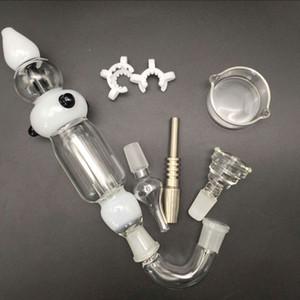 14mm 18mm collecteur de nectar en verre conduites d'eau nector deux fonctions tuyaux pour fumer avec des ongles en titane quartz dabber plat ashcatcher
