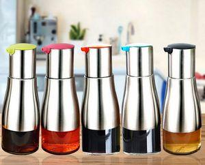 Bouteille d'huile d'olive fonctionnelle sauce de soja vinaigre assaisonnement stockage peut verre fond 304 acier inoxydable corps cuisine outils de cuisine
