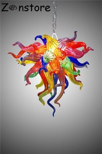 Fancy Art Glass Lamp Small Multicolor Flower Chandelier for Home Bed Room Kids Room 20Inches Murano Glass Chandelier Lighting