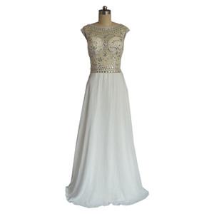 Vestido De Festa Curto Com Pedras A-Linie Scoop Chiffon Perlen Weiß Formal Prom Abendkleider 2018