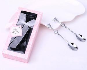 100 set 2 pz / set a Forma di Cuore Amore caffè tè misurazione Cucchiaio decorazione di nozze amante regalo in acciaio inox cena stoviglie set ZA0584