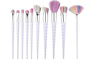Itens agradáveis 10 PÇS / LOTE Unicorn Makeup Brushes Eyeshadow Escova kit O ventilador escova Maquiagem Ferramentas frete grátis B689