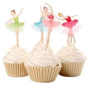 Gracieux Ballerine Cupcake Topper Danseur Gâteau Topper Accessoire De Gâteau Fille Fête D'anniversaire Fournitures 120pcs / lot DEC066