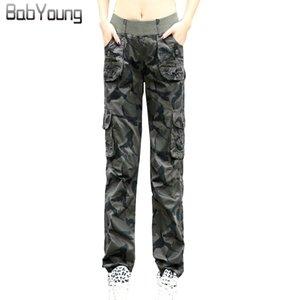 BabYoung 2017 Pantalones de verano para mujer Pantalones de trabajo de algodón de camuflaje con bolsillos sueltos Pantalon delgado y delgado Femme Plus Size 3XL