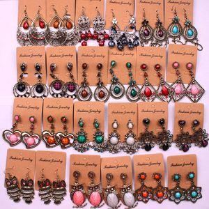 Weinlese-böhmische ethnische Art lange Quasten-Ohrringe für Frauen Damen baumeln Leuchter-Ohrringe Modeschmuck Zufallsmischart