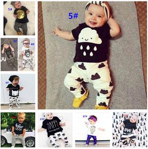 54 Стиль Новый INS Baby Boys Girls Letter Set Топ футболка + брюки Дети Малышей Младенческой Повседневная с коротким рукавом Костюмы Летние детские наряды Одежда